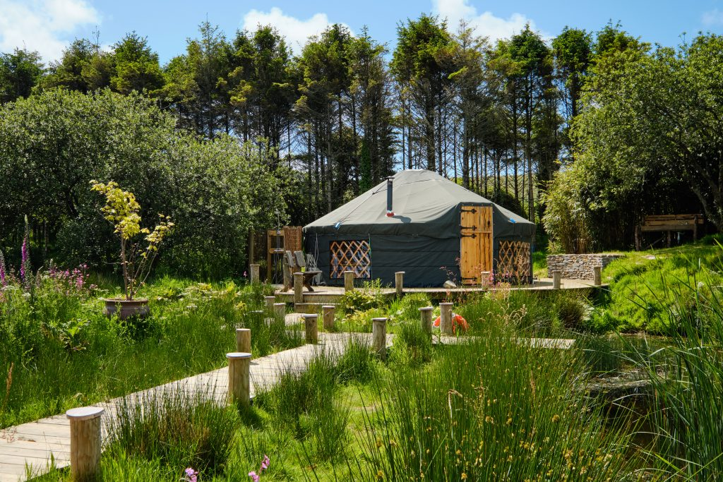 Luxury yurt in Cornwall by a wild swimming lake
