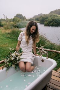small wedding cornwall; outdoor bath