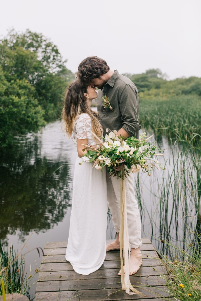 Romantic elopements and small wedding in Cornwall by a wild swimming lake